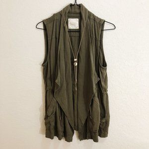 Altar'd State Olive green vest with gold necklace